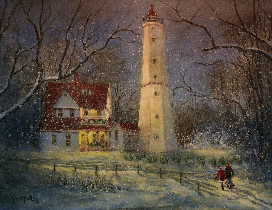 Christmas Scene Painting - Milwaukees North Point Lighthouse by Tom Shropshire