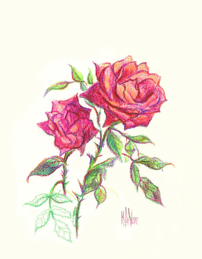 Nature Painting - Minature Red Rose by Kip DeVore
