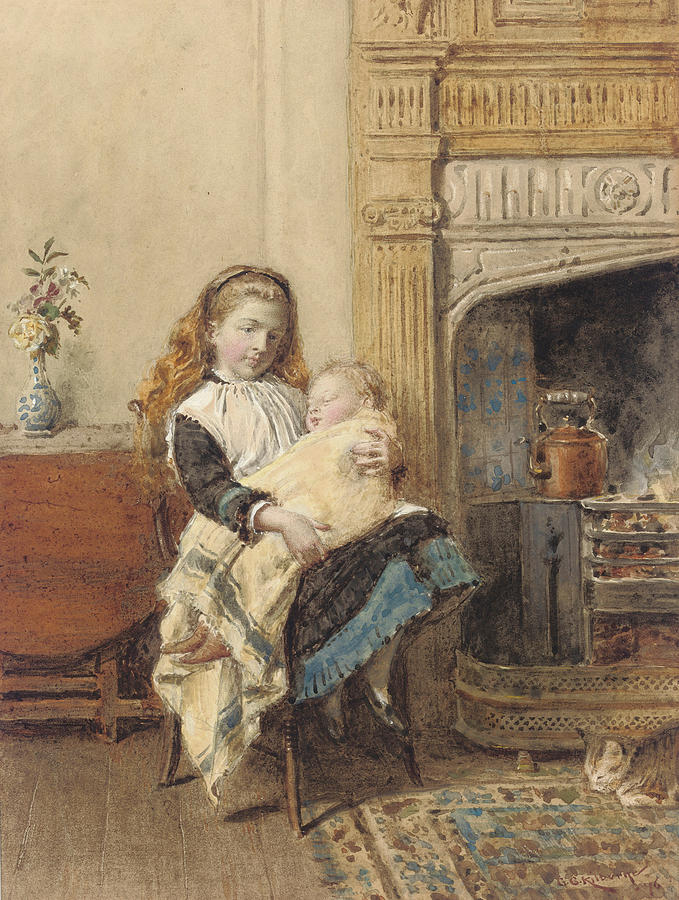 Edwardian Painting - Minding Baby by George Goodwin Kilburne