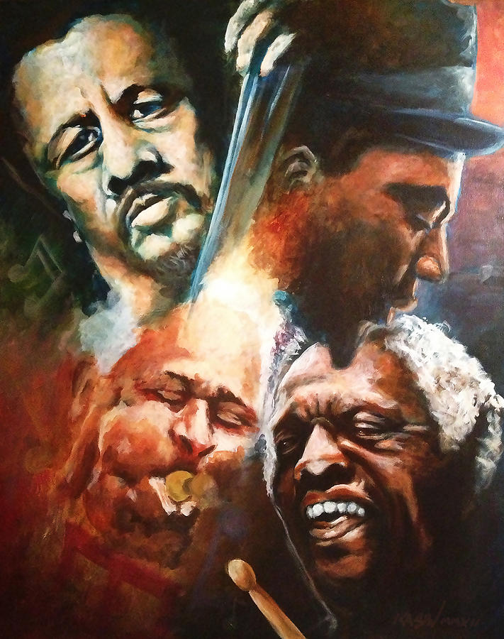 Charles Mingus Painting - Mingus Monk Blakey And Gillespie Playing Jazz by Ka-Son Reeves