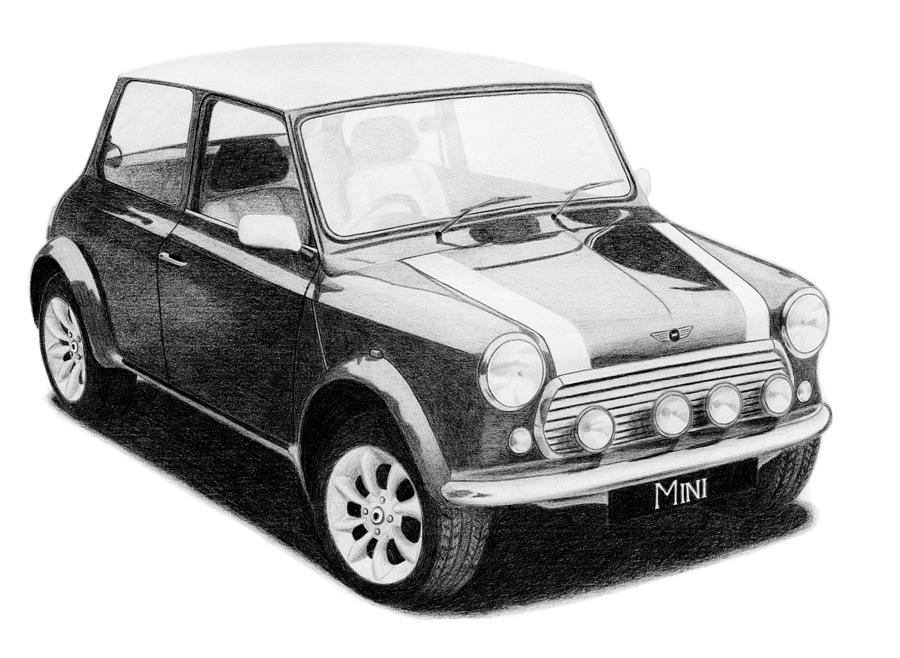 Car Drawing - Mini Cooper by Milan Surkala