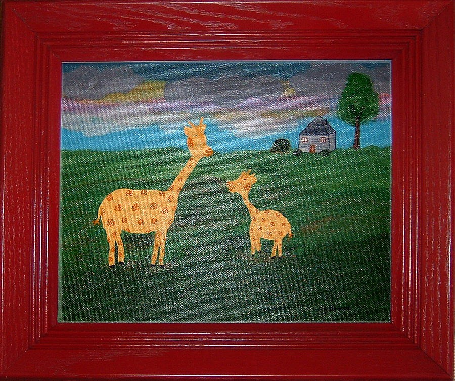 Giraffe Painting - Mini Me by Yvonne  Kroupa