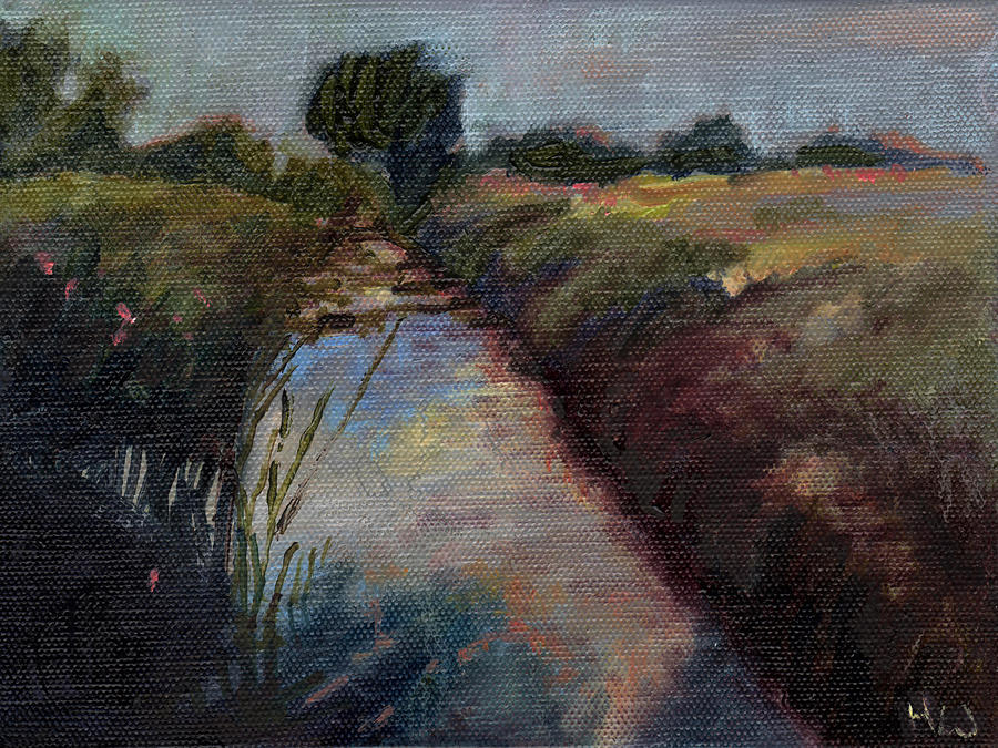 River Painting - Miniature # 4 by Helen White