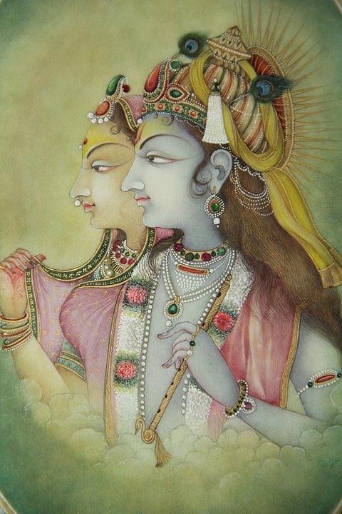 Miniature Krishna Radha Painting by Vishnu Swami