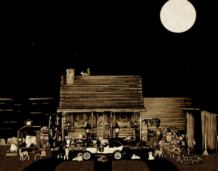 Log Cabin Photograph - Miniature Log Cabin Scene With Old Time Classic 1908 Model T Ford In Sepia Color by Leslie Crotty
