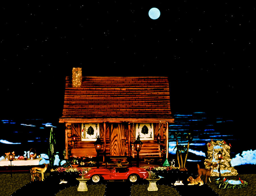 Log Cabin Photograph - Miniature Log Cabin Scene With The Classic 1958 Ferrari 250 Testa Rossa In Color by Leslie Crotty