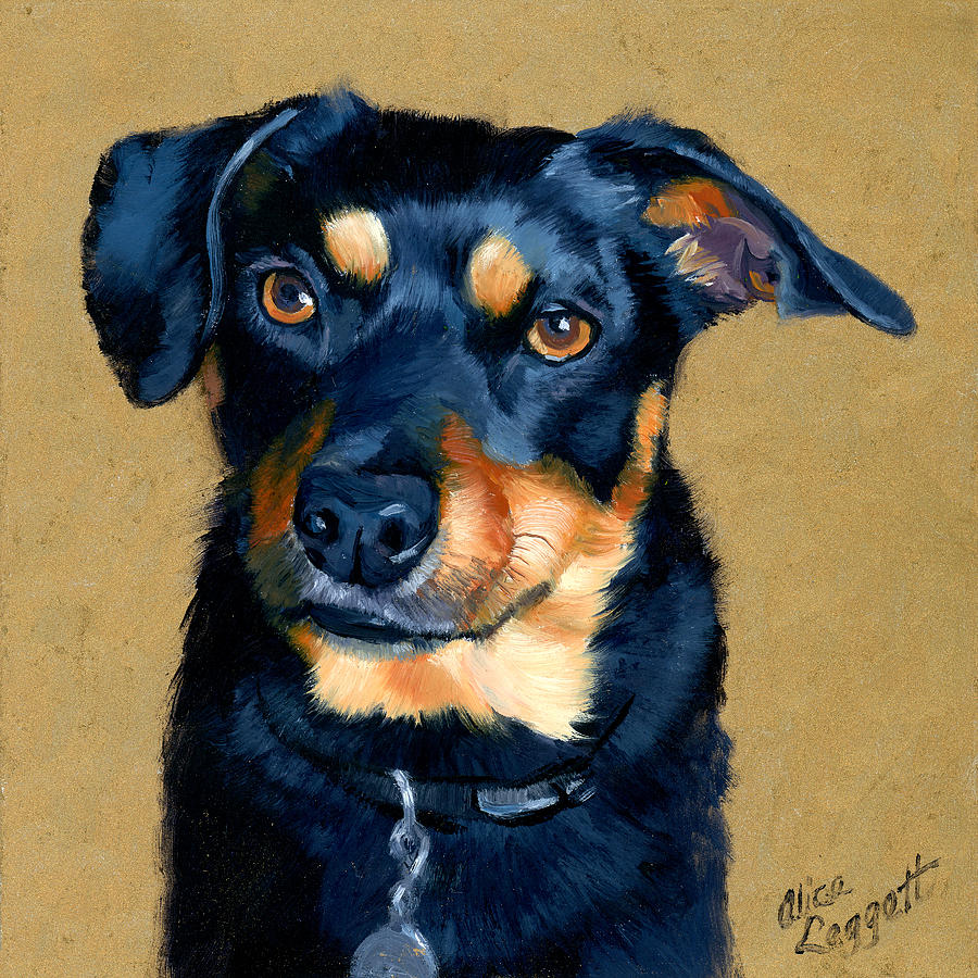 Miniature pinscher dog painting painting by alice leggett for Painting of your dog
