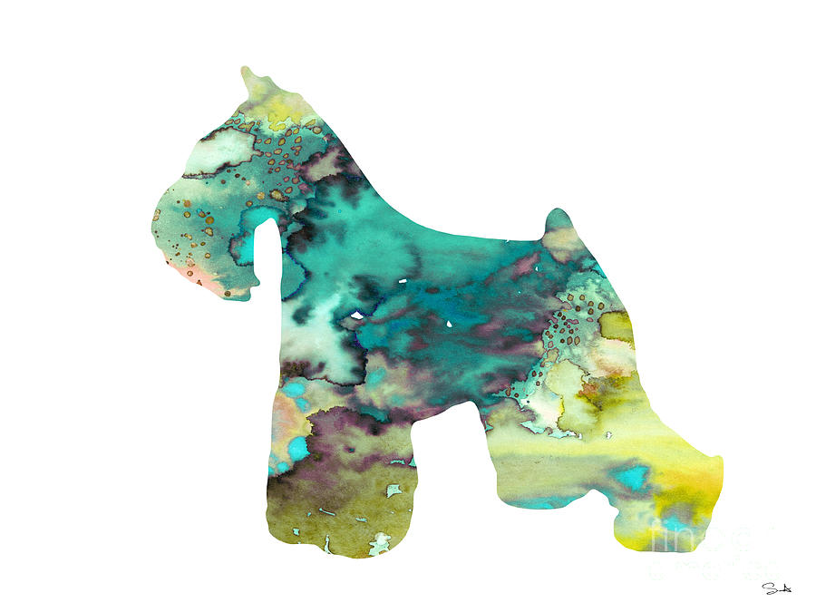 Dog Watercolor Painting - Miniature Schnauzer  by Watercolor Girl