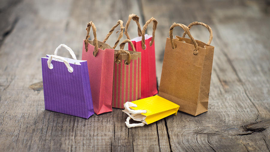 Shopping Photograph - Miniature Shopping Bags by Aged Pixel