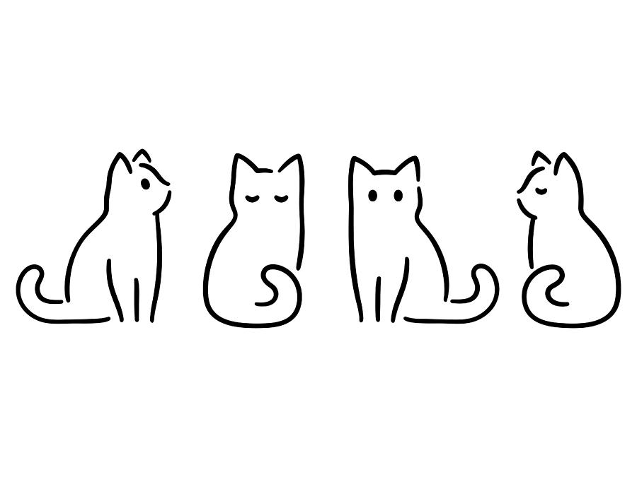 Minimal Cat Drawing Drawing by Sudowoodo