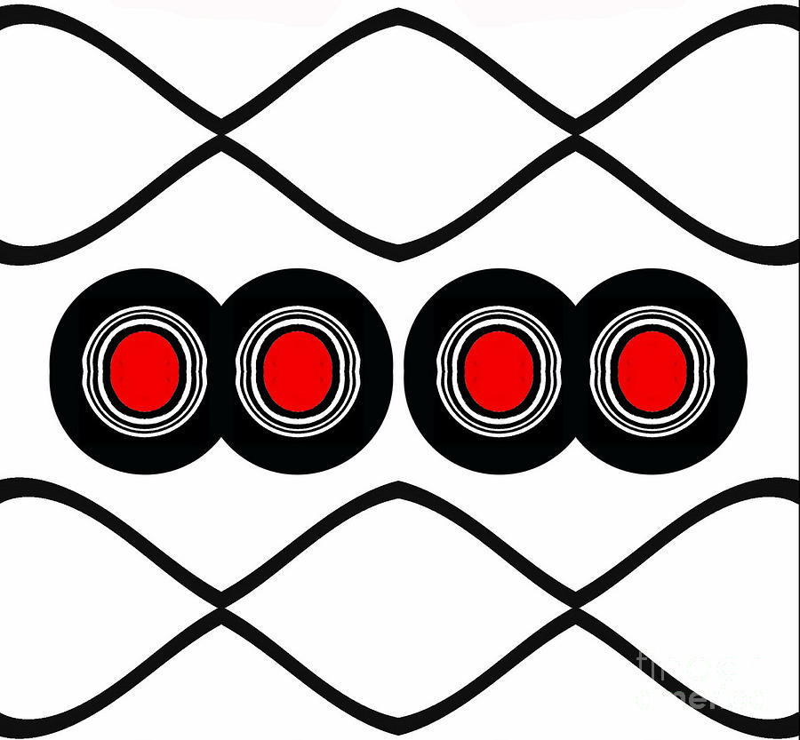 Minimalism Digital Art - Minimalist Art Black White Red No.165. by Drinka Mercep
