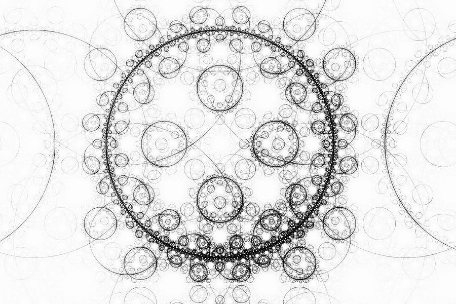 Minimalist Fractal Art Black And White Circles Digital Art