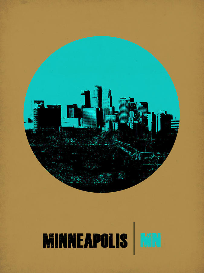 Minneapolis Digital Art - Minneapolis Circle Poster 1 by Naxart Studio