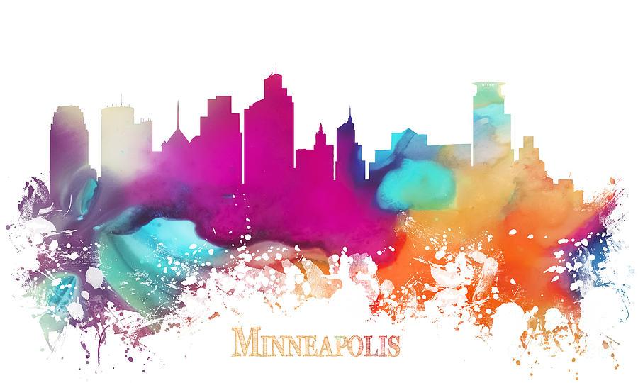 Minneapolis Digital Art - Minneapolis City colored skyline by Justyna Jaszke JBJart