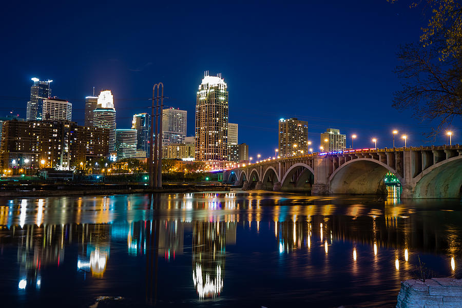 Minneapolis City Lights Photograph By Mark Goodman