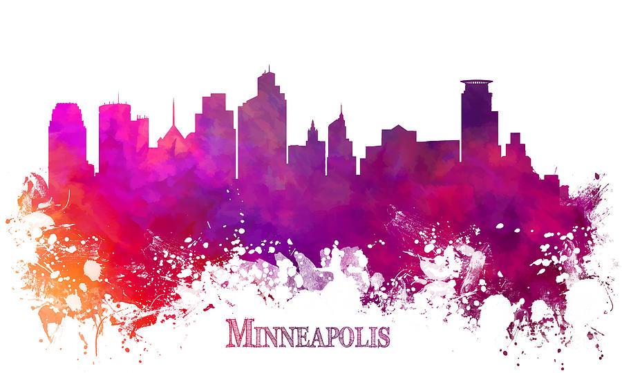 Minneapolis Digital Art - Minneapolis City Skyline Purple by Justyna JBJart