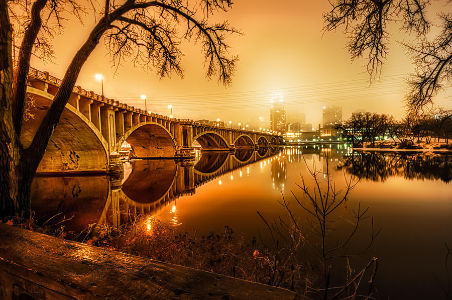 Hdr Photograph - Minneapolis In The Fog by Mark Goodman
