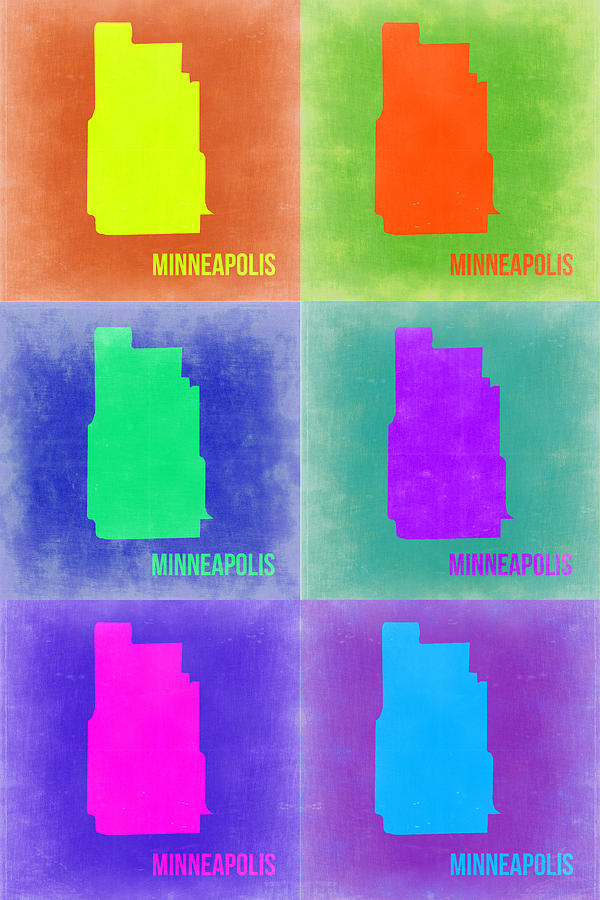 Minneapolis Map Painting - Minneapolis Pop Art Map 3 by Naxart Studio