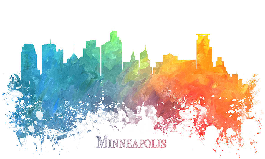 Minneapolis Digital Art - Minneapolis skyline colored by Justyna Jaszke JBJart