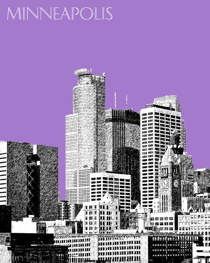 Architecture Digital Art - Minneapolis Skyline - Violet  by DB Artist