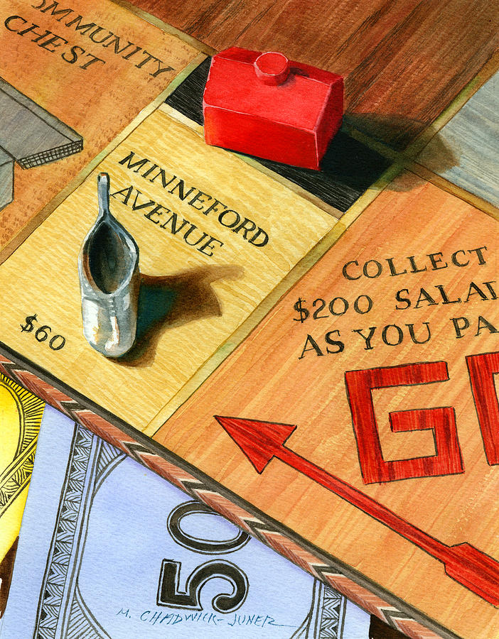 Monopoly Board Painting - Minneford Monopoly by Marguerite Chadwick-Juner