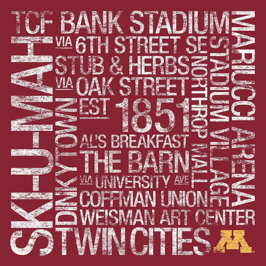 Photo Photograph - Minnesota College Colors Subway Art by Replay Photos