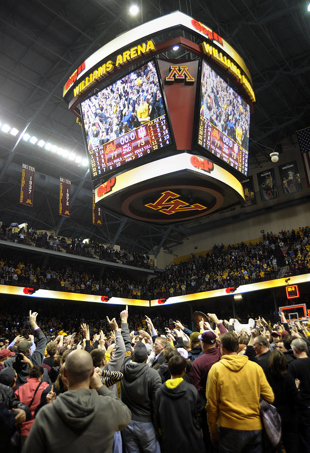 Williams Arena Photograph - Minnesota Fans Celebrate Victory At Williams Arena by Replay Photos