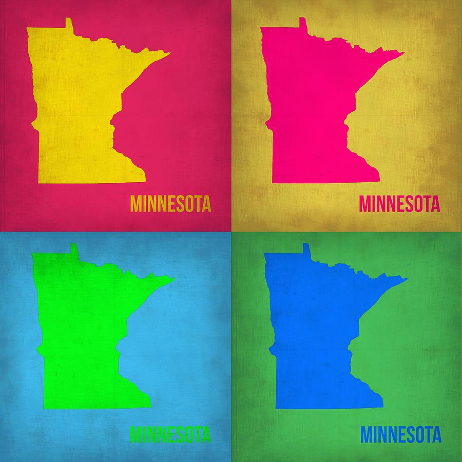 Minnesota Map Painting - Minnesota Pop Art Map 1  by Naxart Studio