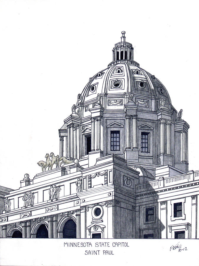 Minnesota State Capitol Drawing by Frederic Kohli