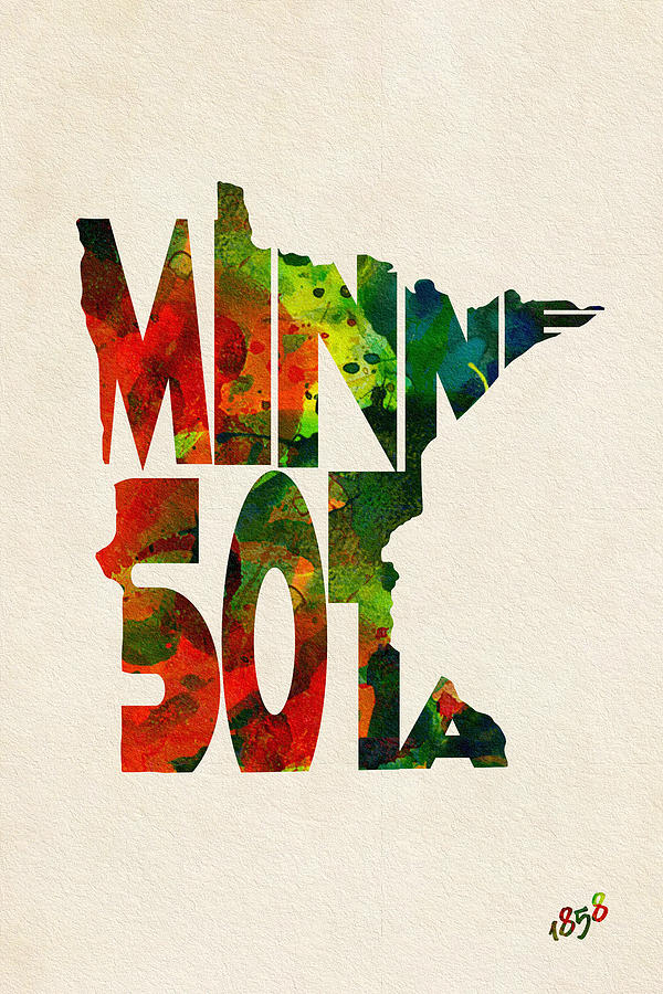 Minnesota Painting - Minnesota Typographic Watercolor Map by Inspirowl Design