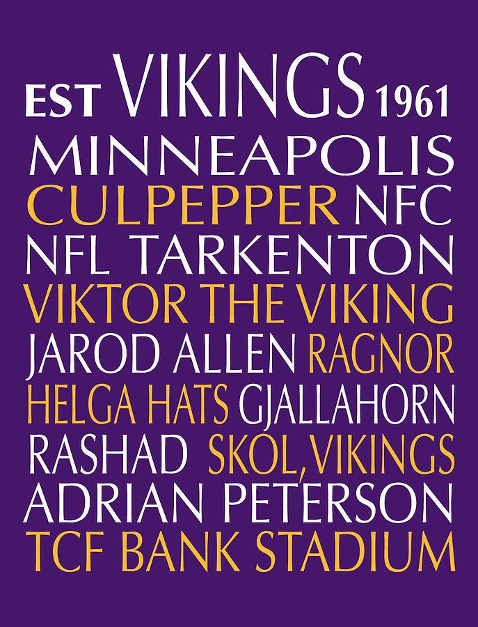 Minnesota Digital Art - Minnesota Vikings by Jaime Friedman