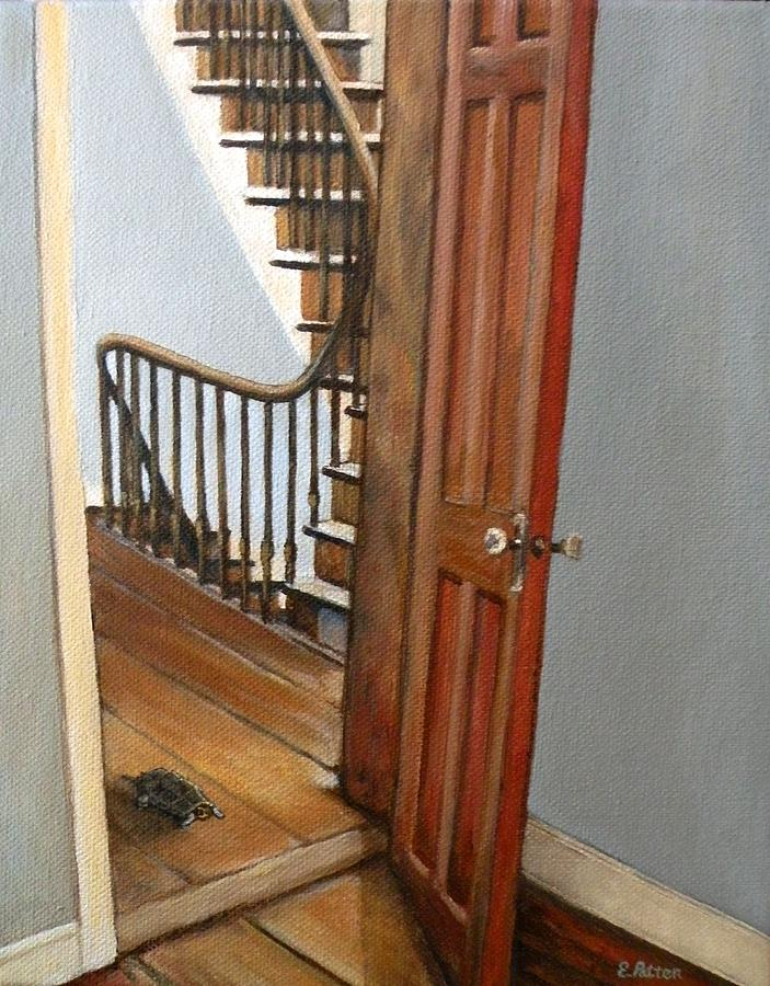 Tortoise Painting - Minnie Crossing The Threshold  by Eileen Patten Oliver