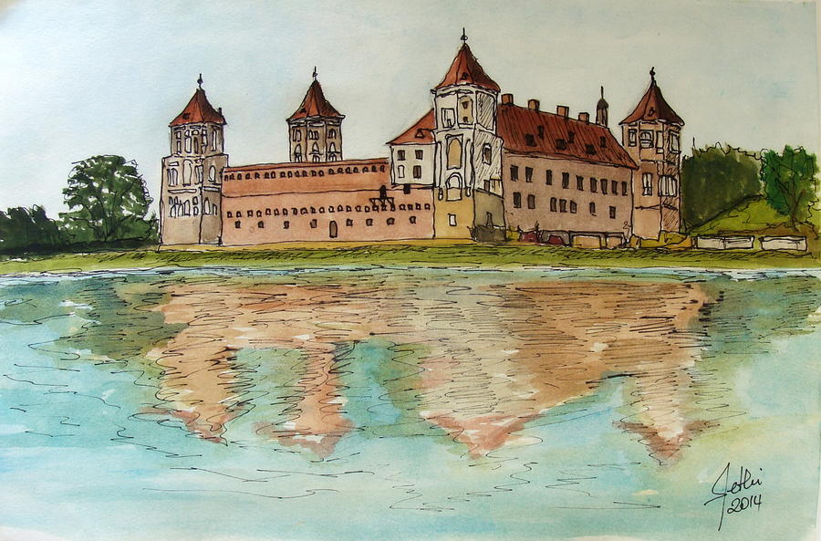 Painting Painting - Mir Castle In Belarus by Fethi Canbaz