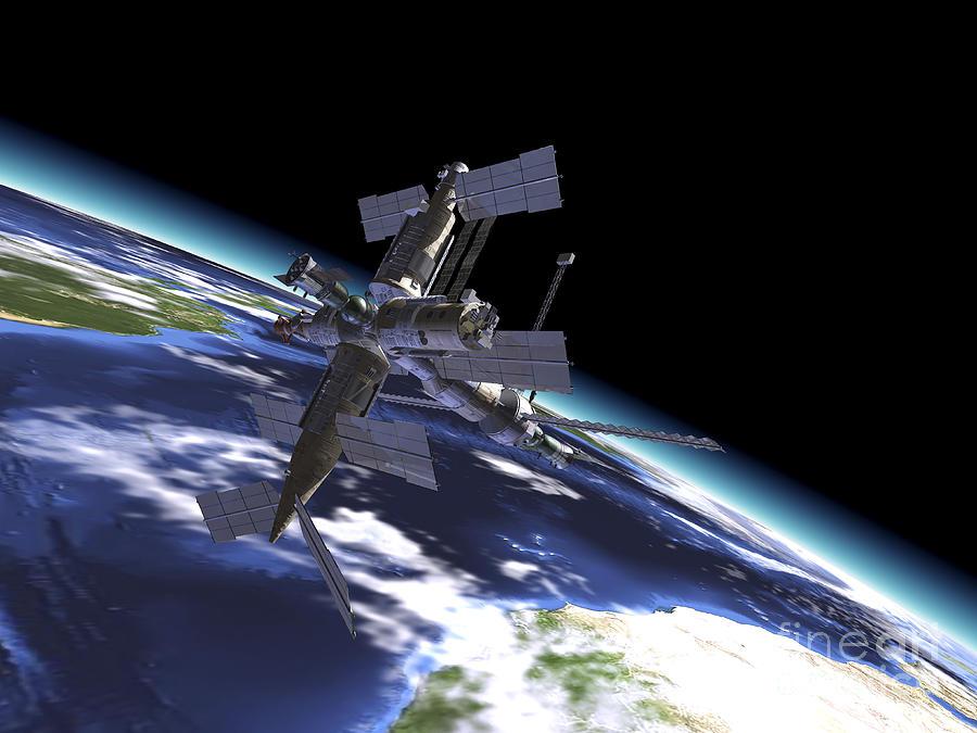 Three Dimensional Digital Art - Mir Russian Space Station In Orbit by Leonello Calvetti