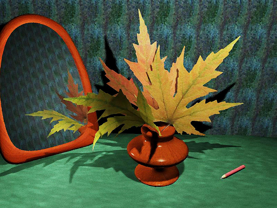 Computer Painting - Mirror And Leaves by Anastasiya Malakhova