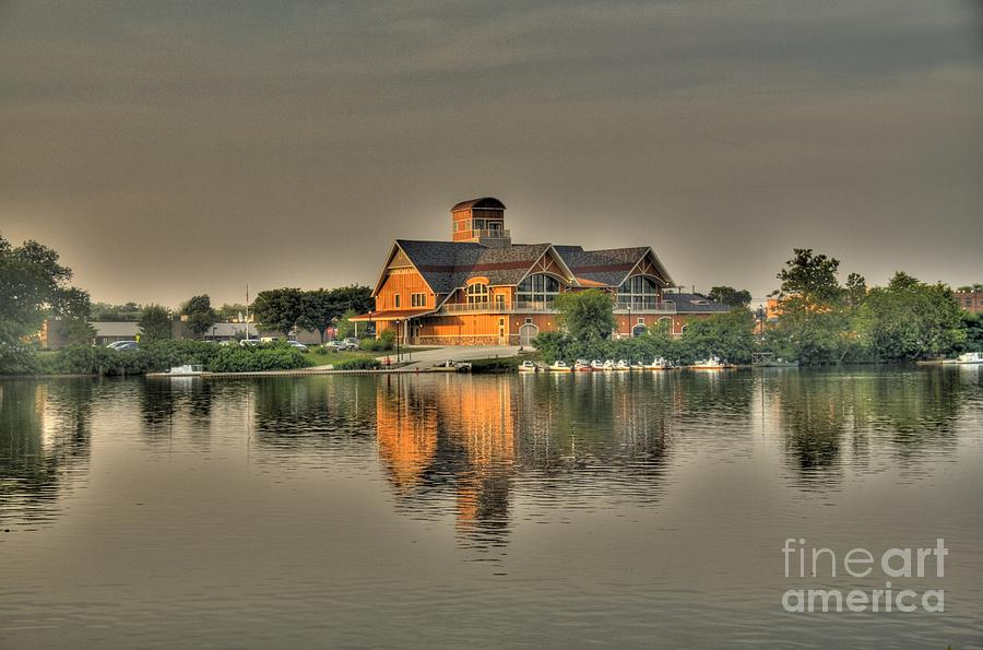 Lodge Photograph - Mirrored Boat House by Jim Lepard