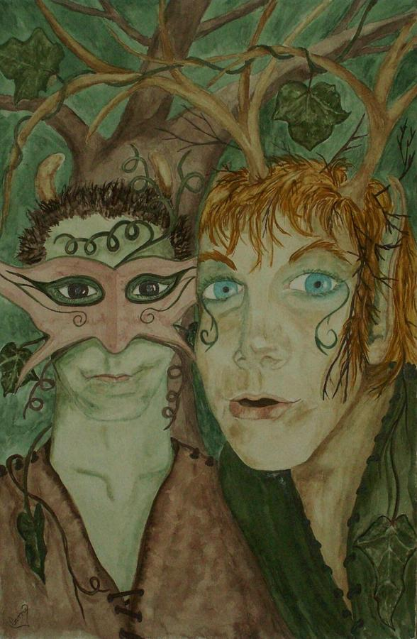 Faeries Painting - Mischief by Carrie Viscome Skinner