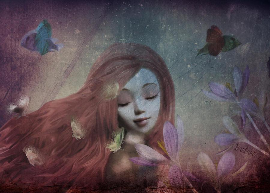Portrait Digital Art - Miss Little Crocus by Barbara Orenya