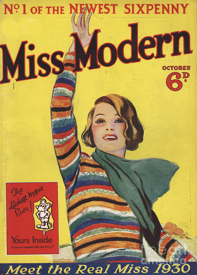 Covers Drawing - Miss Modern 1930 1930s Uk First Issue by The Advertising Archives