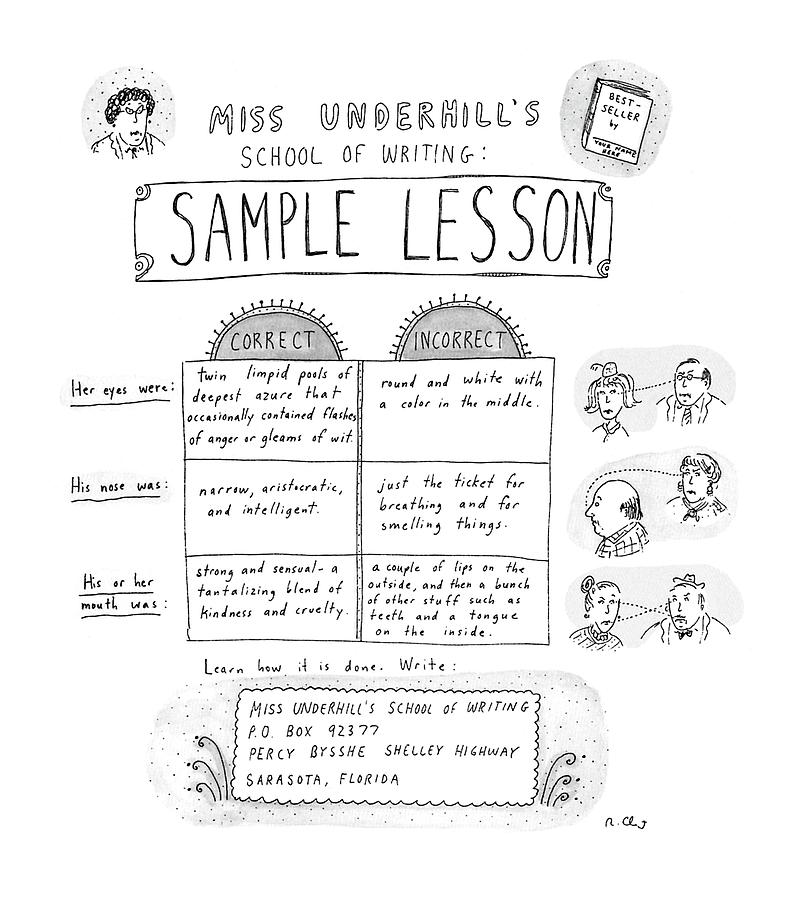 Miss Underhills School Of Writing Sample Lesson Drawing by Roz Chast