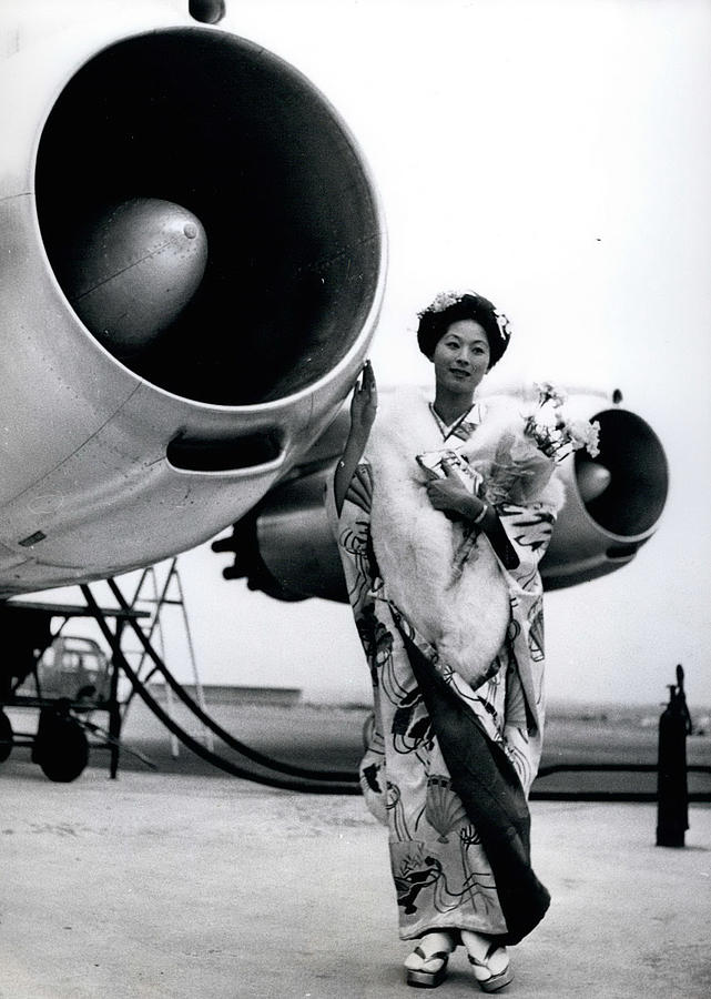 Retro Photograph - Miss Universe Opens Polar Route Of Air Franc by Retro Images Archive