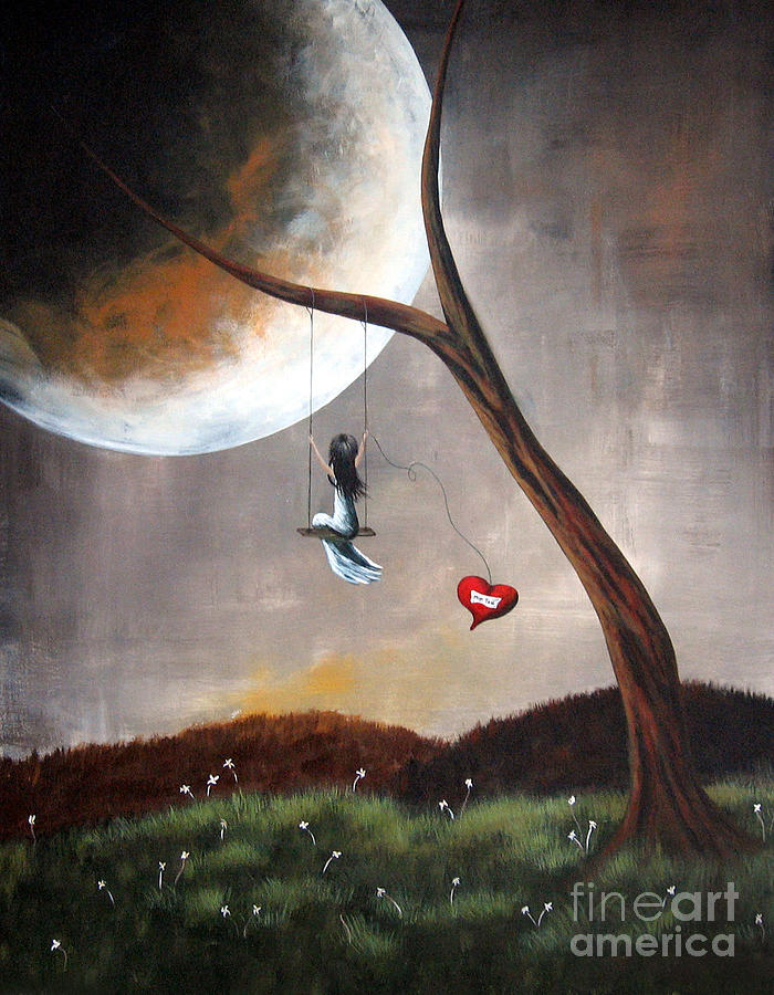Original Surreal Artwork Girl On Swing Painting