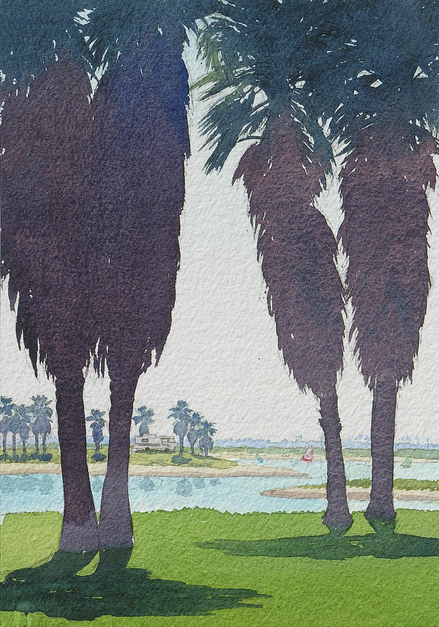 Mission Bay Painting - Mission Bay Park With Palms by Mary Helmreich