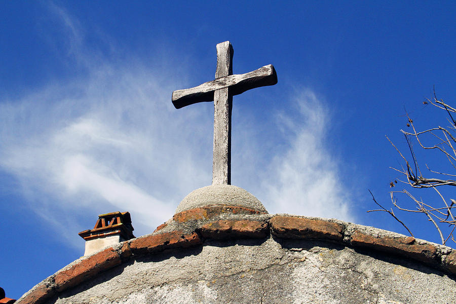 Religious Photograph - Mission Cross by Shoal Hollingsworth