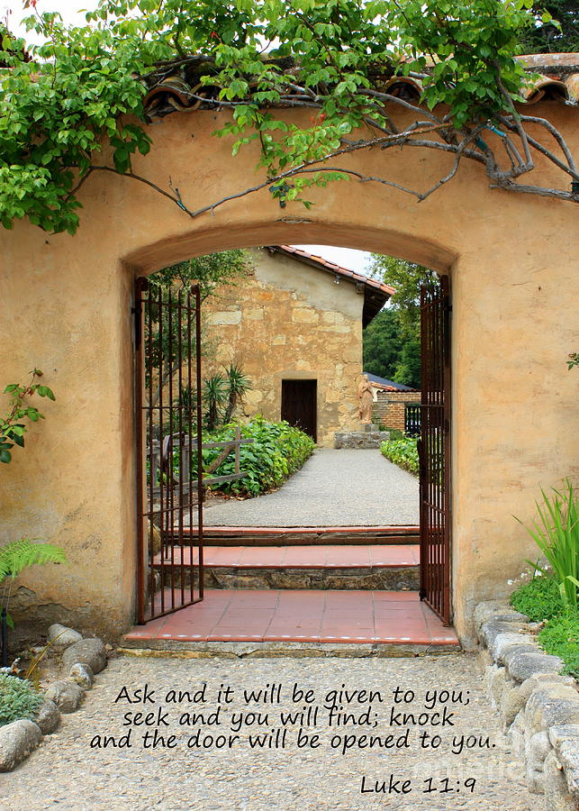 Path To Peace Photograph - Mission Door With Scripture by Carol Groenen