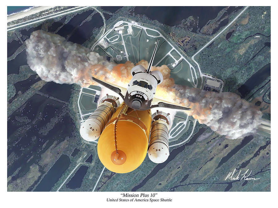Space Shuttle Painting - Mission Plus 10 by Mark Karvon
