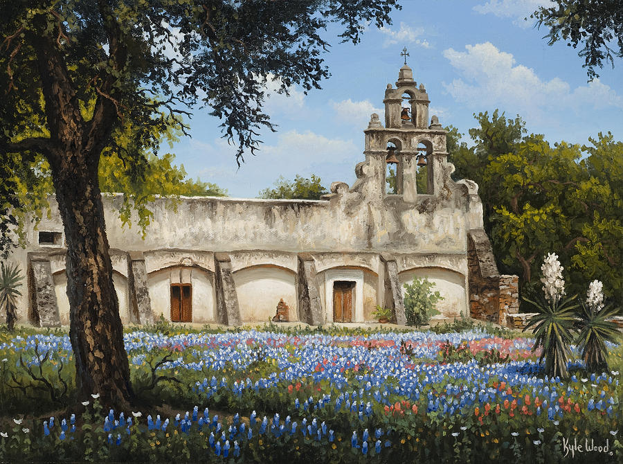 Texas Mission Painting - Mission San Juan by Kyle Wood