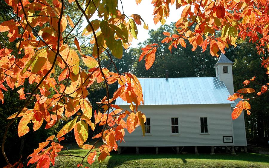 Cades Cove Photograph - Missionary Baptist Church Autumn Afternoon by John Saunders