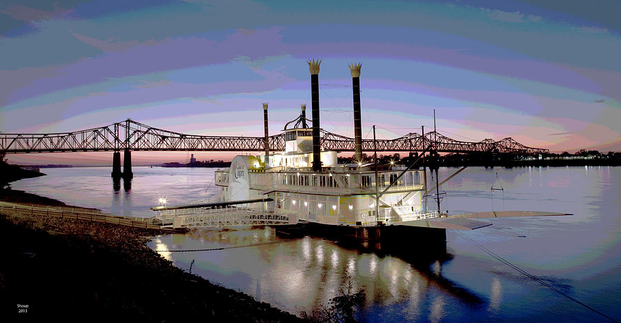 Natchez Mixed Media - Mississippi Casino Boat by Charles Shoup