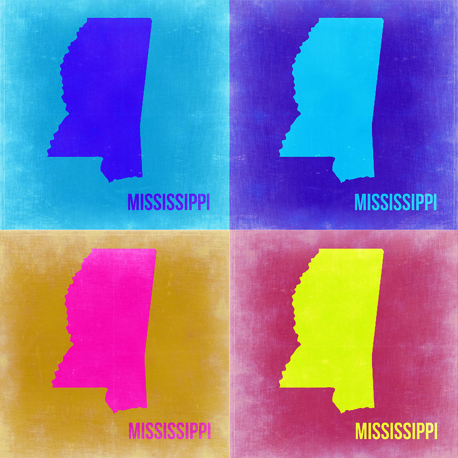 Mississippi Map Painting - Mississippi Pop Art Map 2 by Naxart Studio